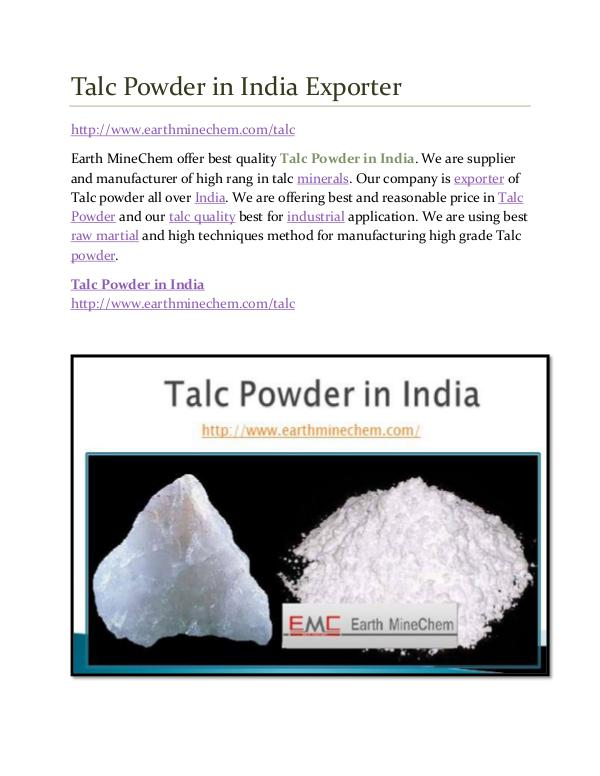 Talc powder in India Talc Powder in India Exporter