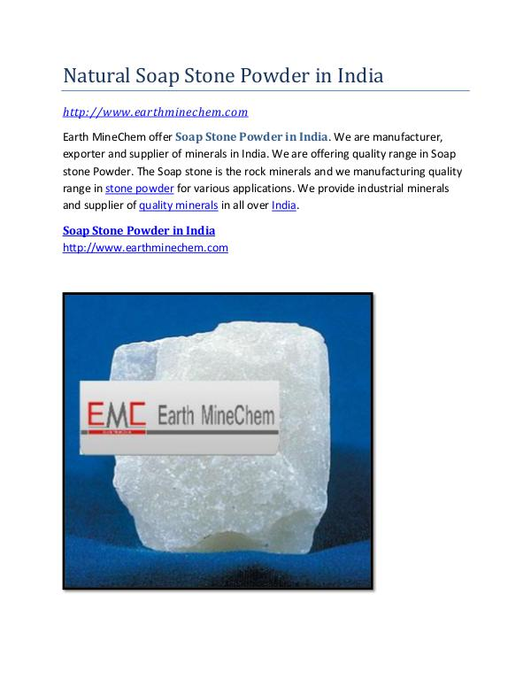 Natural Soap Stone Powder in India