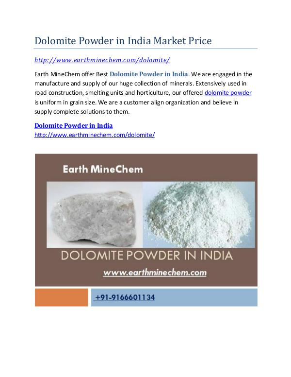 Supplier Dolomite Powder in india Dolomite Powder in India Market Price