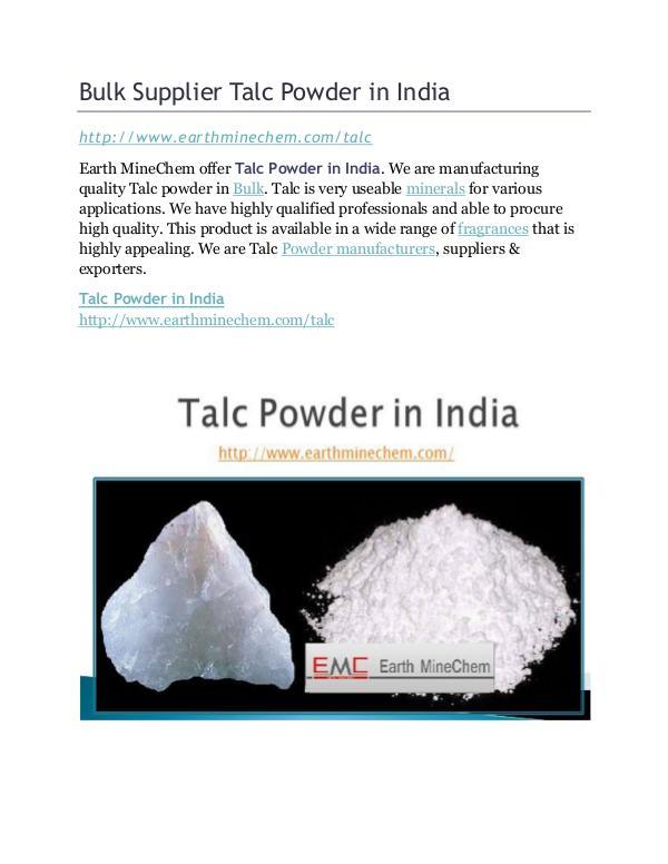Bulk Supplier Talc Powder in India