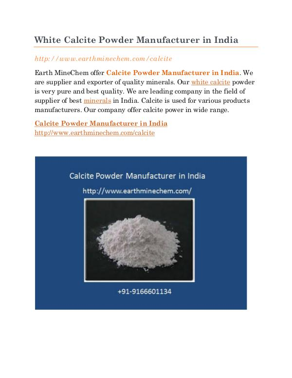 White Calcite Powder Manufacturer in India