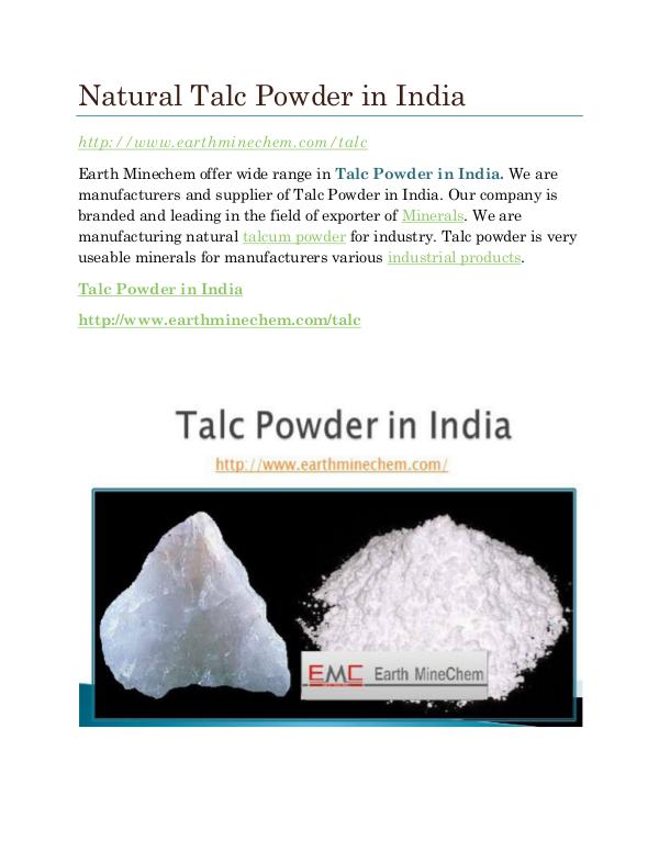 Natural Talc Powder in India