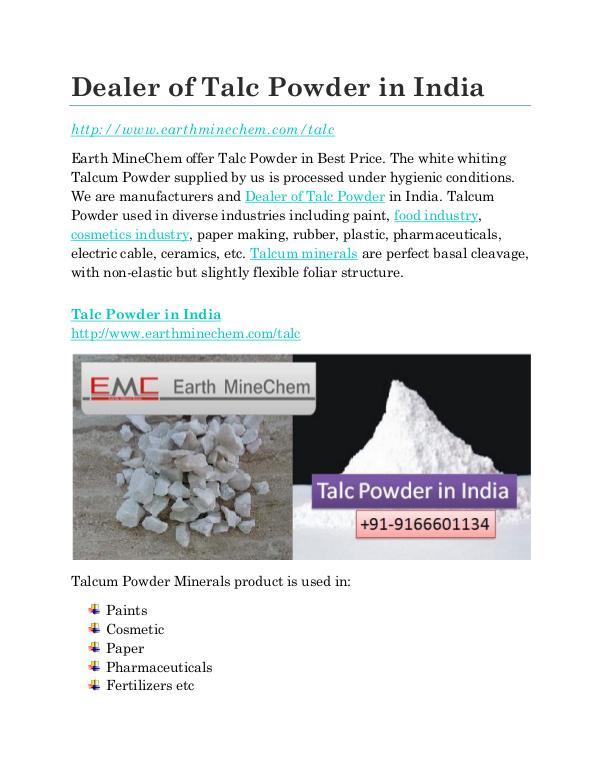 Talc Powder in India Price Dealer of Talc Powder in India