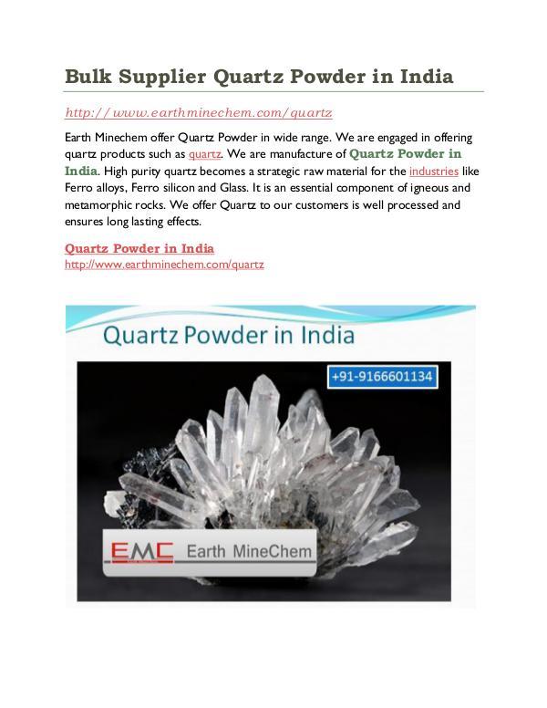 Quartz powder in India Bulk Supplier Quartz Powder in India