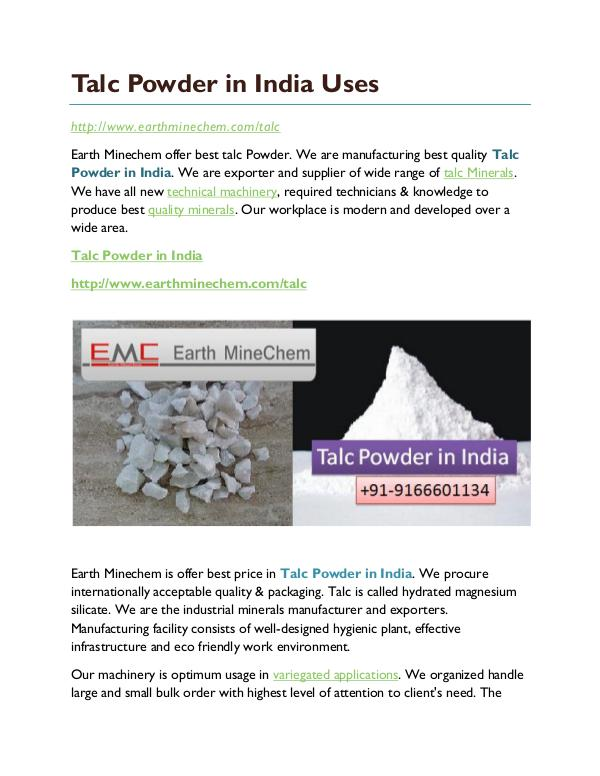 Talc Powder in India Uses