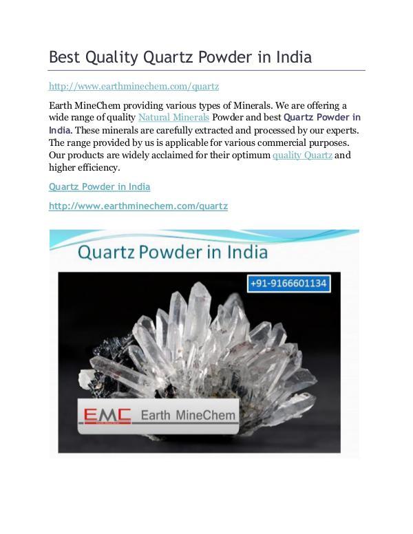 Quartz powder in India Best Quality Quartz Powder in India