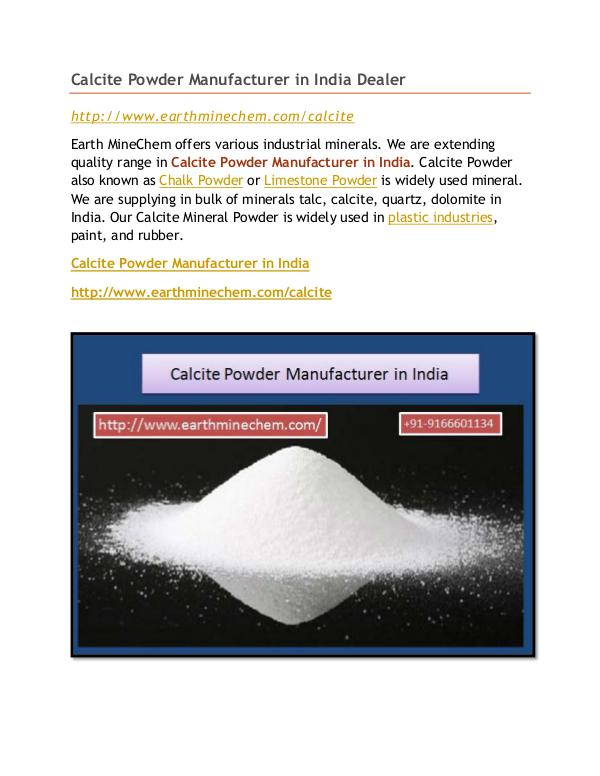 Calcite Powder Manufacturer in India Dealer