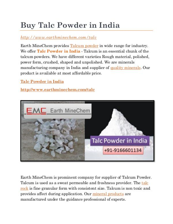Talc powder in India Buy Talc Powder in India