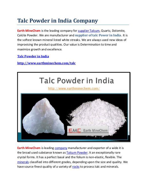 Talc Powder in India Company