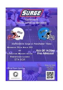 Staffordshire Surge Gameday Magazine vs Manchester Titans, Gameday 8