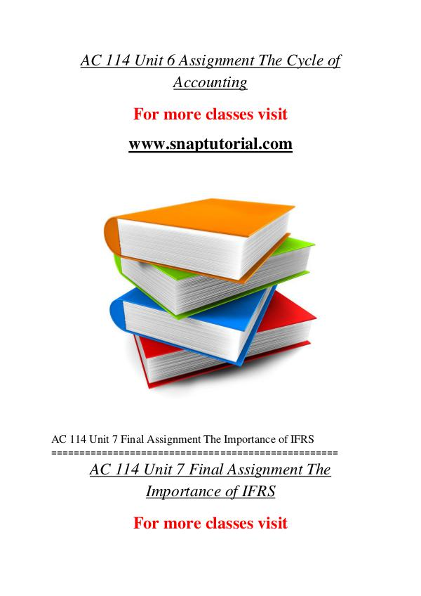 AC 114 help A Guide to career/Snaptutorial AC 114 help A Guide to career/Snaptutorial