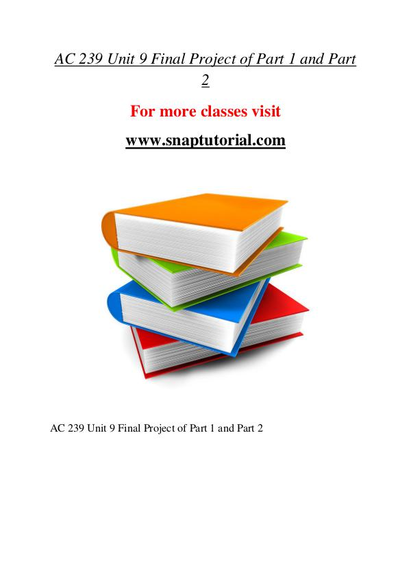 AC 239 help A Guide to career/Snaptutorial AC 239 help A Guide to career/Snaptutorial