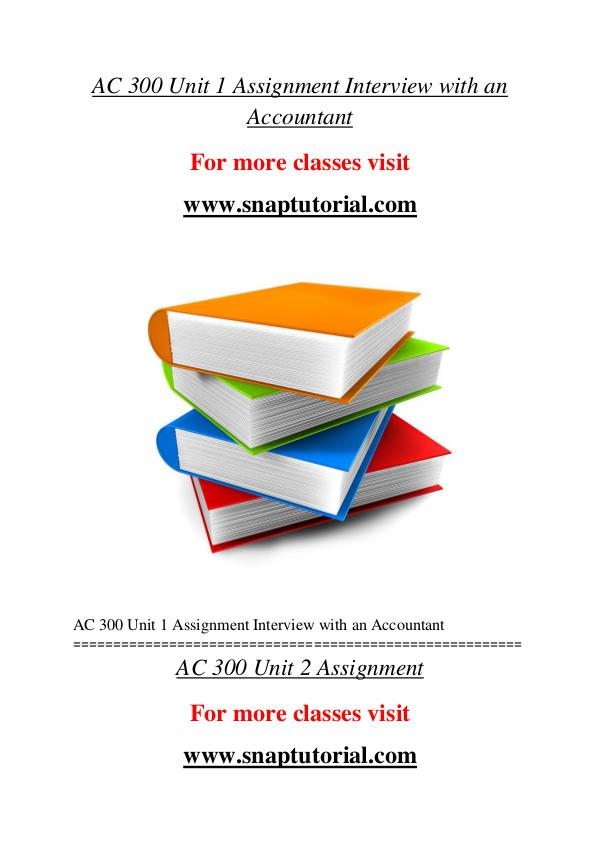 AC 300 help A Guide to career/Snaptutorial AC 300 help A Guide to career/Snaptutorial