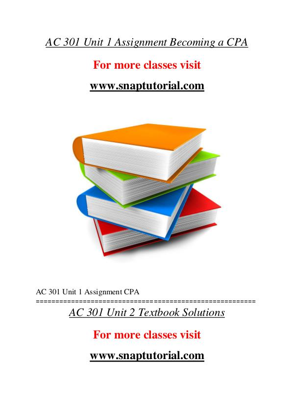 AC 301 help A Guide to career/Snaptutorial AC 301 help A Guide to career/Snaptutorial