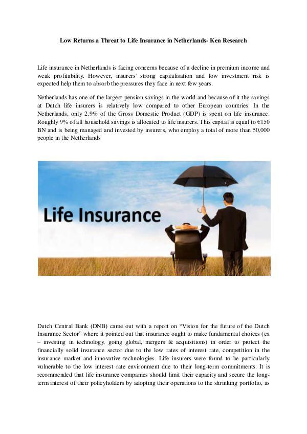 Life insurance sector trends Netherlands,Netherlan