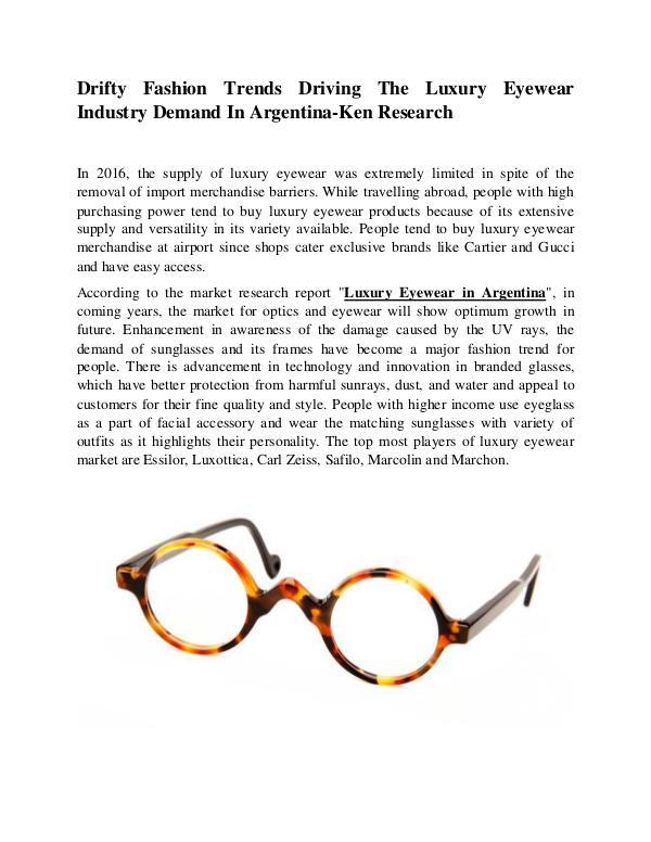 Argentina Luxury Eyewear Market Size,Argentina Lux