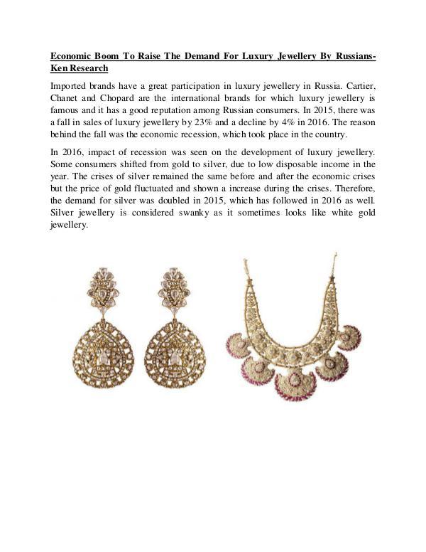Economic Boom To Raise The Demand For Luxury Jewel
