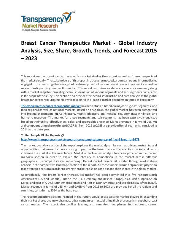 Breast Cancer Therapeutics Market 2015 Breast Cancer Therapeutics Market
