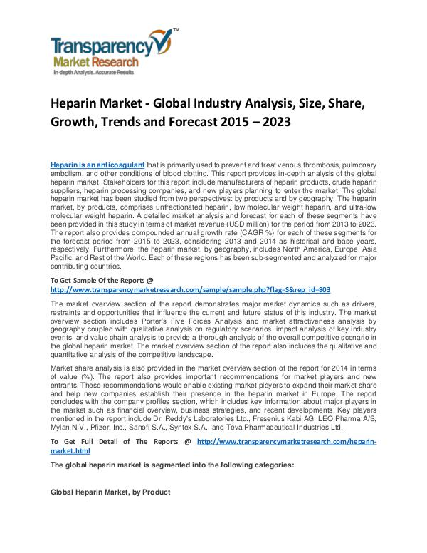 Heparin Market Share, Trends, Price and Analysis To 2023 Heparin Market