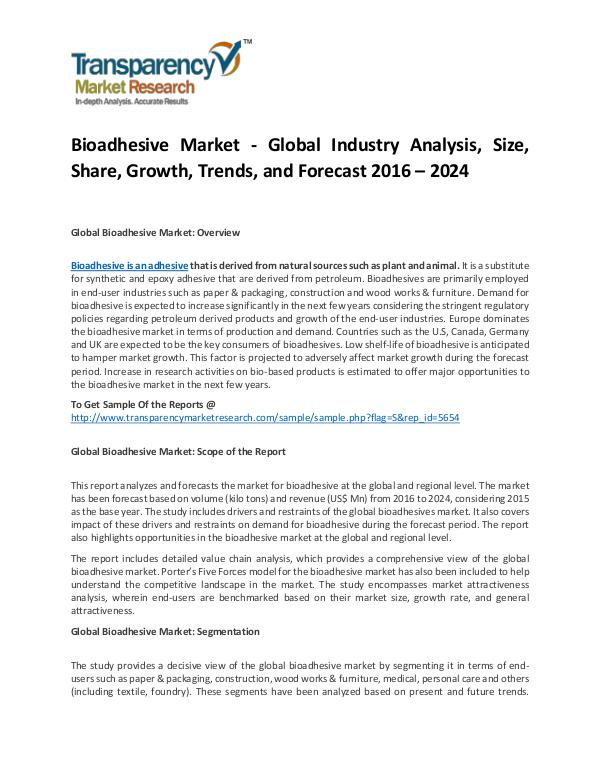 Bioadhesive Market - Global Industry Analysis and Opportunity Assessm Bioadhesive Market