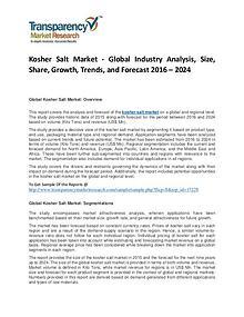 Kosher Salt Market Trends, Growth, Price, Demand and Analysis To 2024