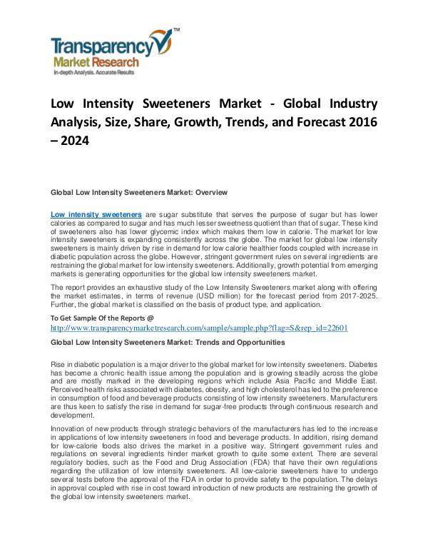 Low Intensity Sweeteners Market Trends, Growth, Analysis and Forecast Low Intensity Sweeteners Market