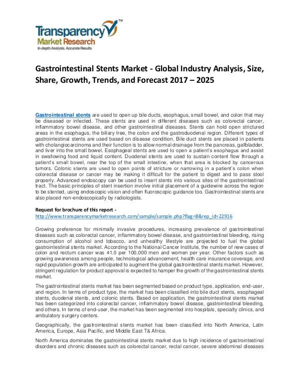Gastrointestinal Stents Market Growth, Price, Demand and Forecast Gastrointestinal Stents Market - Global Industry A