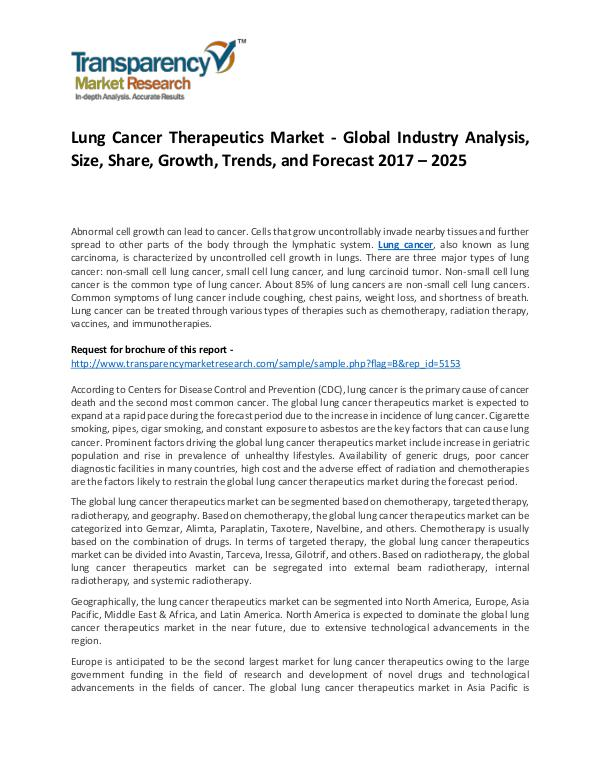 Lung Cancer Therapeutics Market Growth, Trend, Demand and Forecast Lung Cancer Therapeutics Market - Global Industry