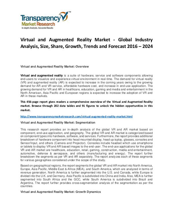 Virtual and Augmented Reality Market Size, Share, Demand and Forecast Virtual and Augmented Reality Market - Global Indu