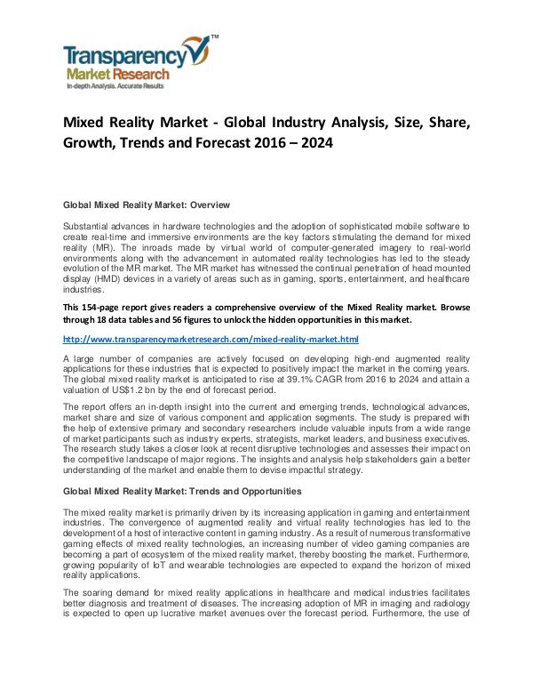 Mixed Reality Market Size, Share, Demand and Forecasts To 2024 Mixed Reality Market - Global Industry Analysis, S