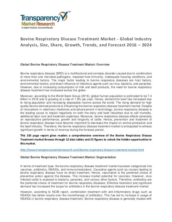 Bovine Respiratory Disease Treatment Market 2016 Bovine Respiratory Disease Treatment Market - Glob