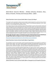Clostridium Vaccine Market Trends and Industry Forecast 2016 – 2024