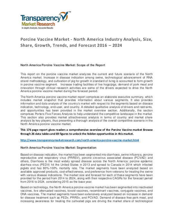 Porcine Vaccine Market Trends and Industry Forecast 2016 – 2024 Porcine Vaccine Market - North America Industry An