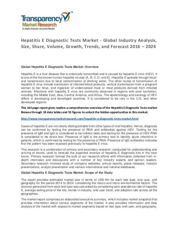 Hepatitis E Diagnostic Tests Market Trends and Industry Forecast Hepatitis E Diagnostic Tests Market - Global Indus