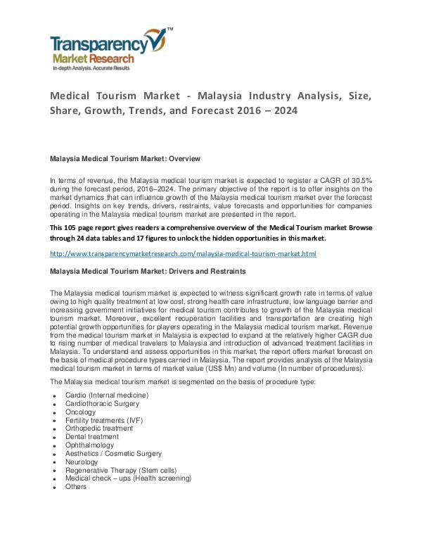 Medical Tourism Market Trends and Forecast 2016 – 2024 Medical Tourism Market - Malaysia Industry Analysi