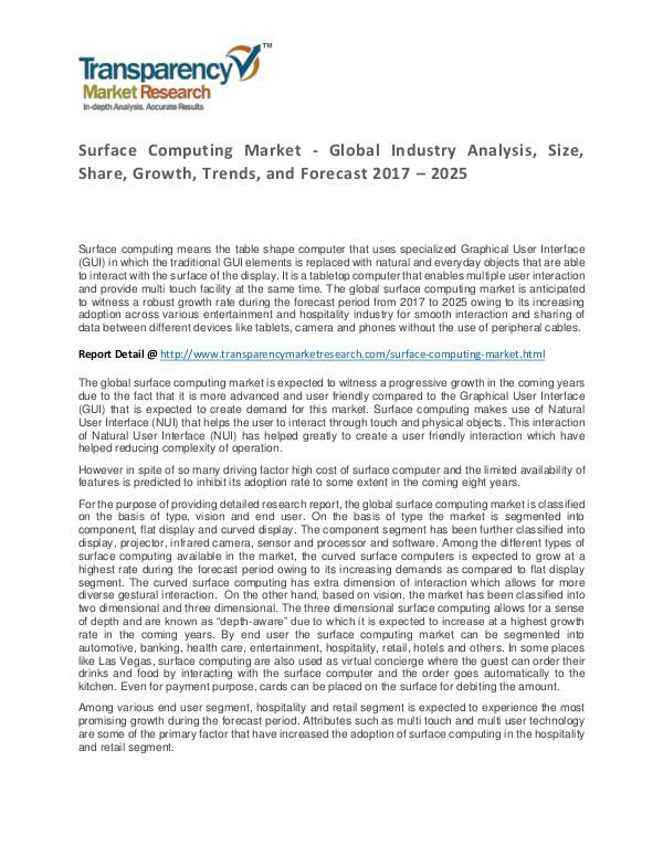 Surface Computing Market Trends, Growth, Price and Forecasts To 2024 Surface Computing Market - Global Industry Analysi