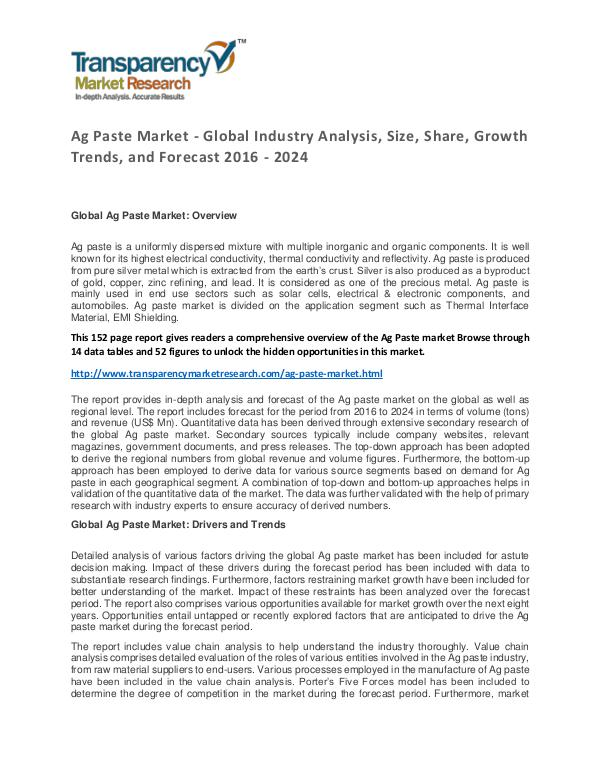 Ag Paste Market Trends, Growth, Price and Forecasts To 2024 Ag Paste Market - Global Industry Analysis, Size,