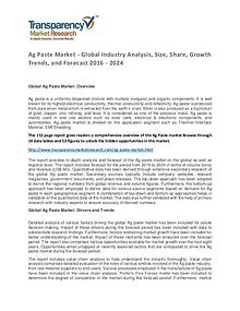 Ag Paste Market Trends, Growth, Price and Forecasts To 2024