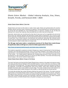Oleate Esters Market Trends, Growth, Price and Forecasts To 2024