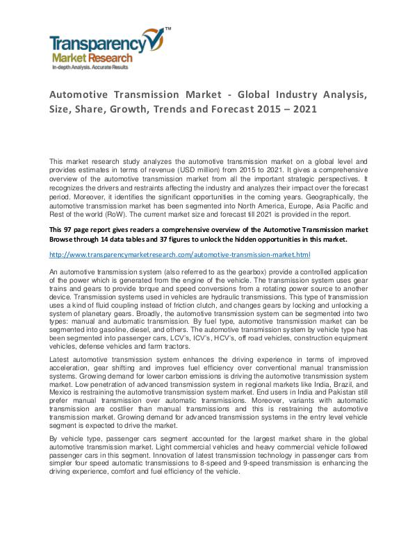 Automotive Transmission Market  Growth, Trends and Forecast Automotive Transmission Market - Global Industry A
