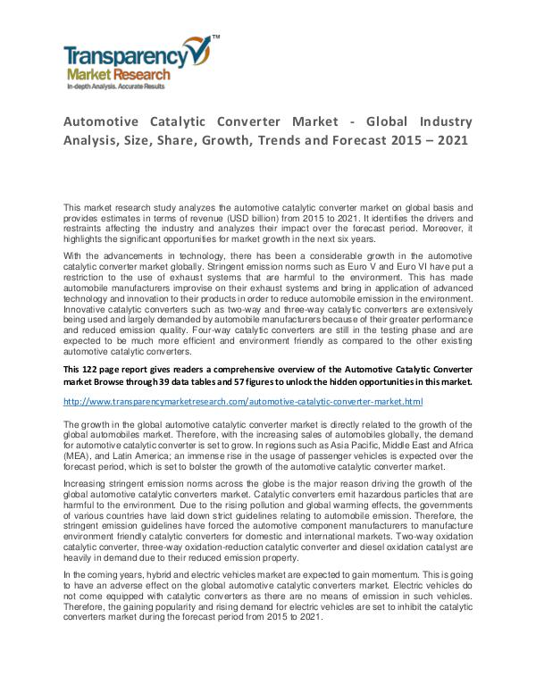 Automotive Catalytic Converter Market 2016 Automotive Catalytic Converter Market - Global Ind