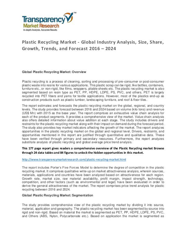 Plastic Recycling Market Size, Share, Growth, Trends and Forecast Plastic Recycling Market - Global Industry Analysi