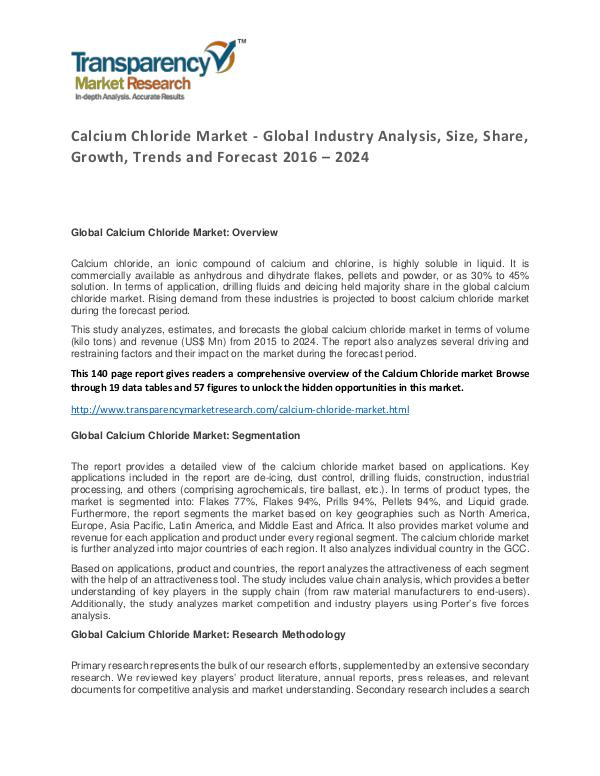 Calcium Chloride Market Size, Share, Growth, Trends and Forecast Calcium Chloride Market - Global Industry Analysis