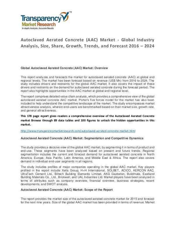 Autoclaved Aerated Concrete Market Growth, Trends and Forecast Autoclaved Aerated Concrete (AAC) Market - Global