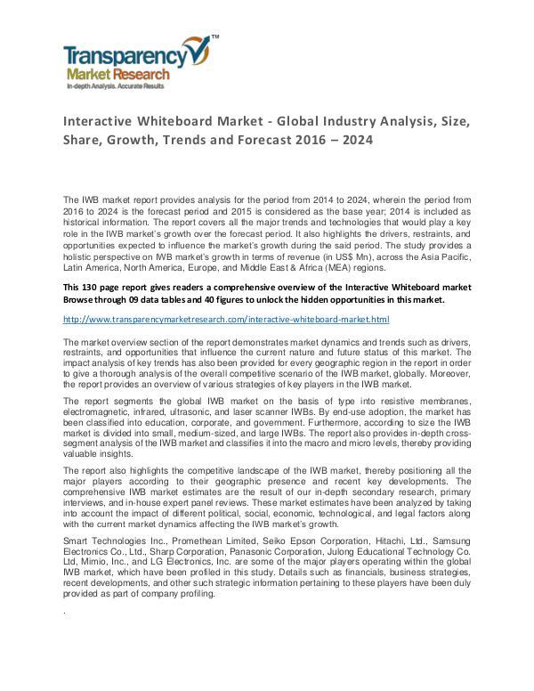 Interactive Whiteboard Market 2016 World Analysis and Forecast Interactive Whiteboard Market - Global Industry An