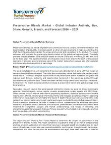 Preservative Blends Market 2016 World Analysis and Forecast to 2024