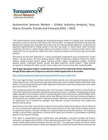 Automotive Sensors Global Market Analysis 2015 and Forecasts to 2021