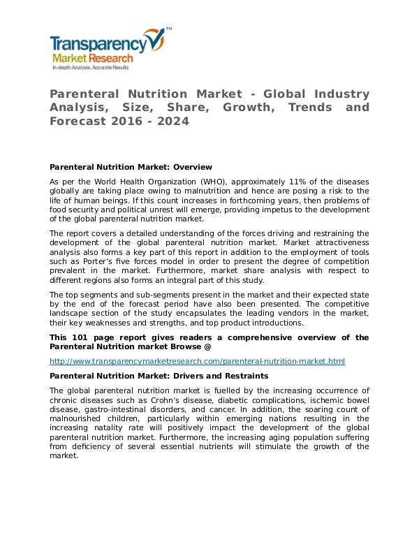 Parenteral Nutrition Market size, share, survey, strategy Reports Parenteral Nutrition Market - Global Industry Anal