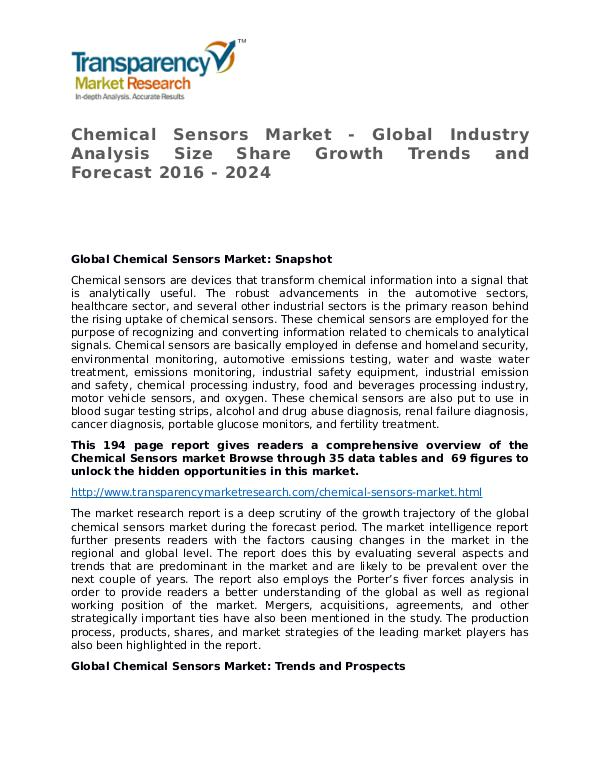 Chemical Sensors Global Analysis & Forecast to 2024 Chemical Sensors Market - Global Industry Analysis