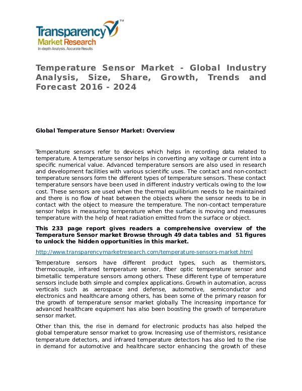 Temperature Sensor Global Analysis & Forecast to 2024 Temperature Sensor Market - Global Industry Analys